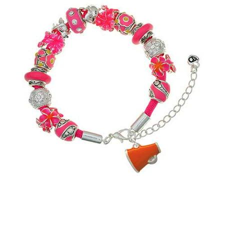 Silvertone Small Orange Megaphone Hot Pink Flowers Bead Bracelet - Orange Megaphone