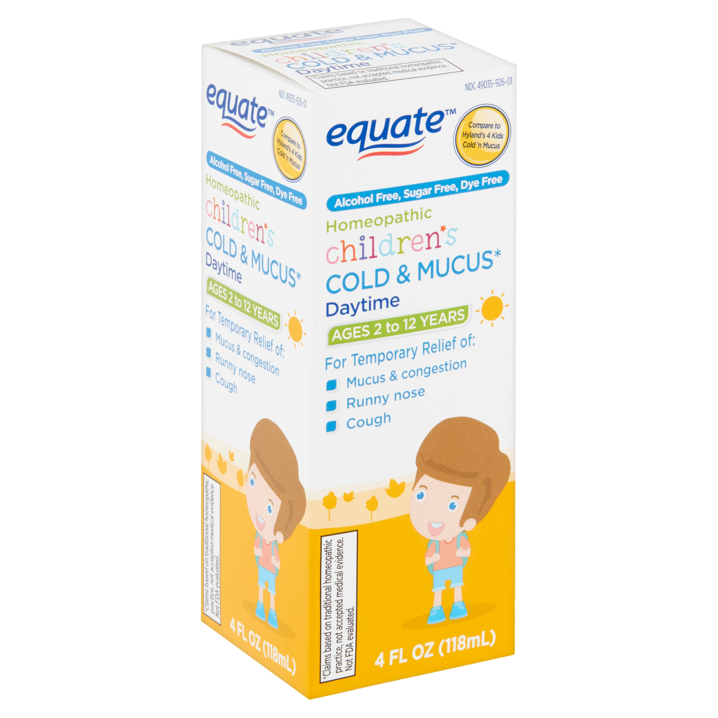 Equate Homeopathic Children's Daytime Cold & Mucus Liquid, Ages 2 to 12 Years, 4 fl oz