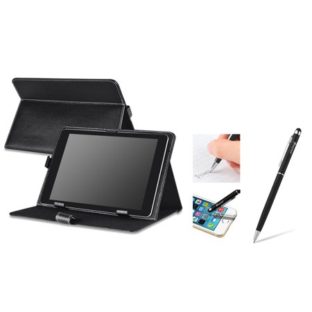 Universal Torch - Insten Black Leather Case Stand + 2in1 Capacitive Touch Stylus with Ballpoint Pen For Universal 10