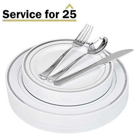 Stock Your Home Elegant 125 Piece Silver Rim Plastic Place Setting Set with Silverware - Solid, Disposable & Heavy-duty Includes: 25 Dinner Plates, 25 Dessert Plates, 25 Forks, 25 Knives, 25 Spoons - Plastic Silver Silverware