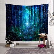 SUPERHOMUSE 51 x 59inch Tapestry Forest and Starry Printed Tapestry Polyester Fabric Wall Hanging Decor Mural Beach Towel Bedspread Picnic Blanket