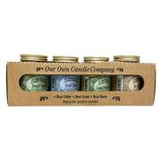 4 Pack Everyday Assortment Mini Mason Jar Candles - 3.5 Oz French Vanilla, 3.5 Oz Fresh Linen, 3.5 Oz Lemon Poundcake, 3.5 Oz Hot Apple Pie, By Our Own Candle Company - 3.5 Oz To Cups