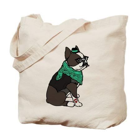 Canvas Large Boston Bag - CafePress - Hipster Boston Terrier - Natural Canvas Tote Bag, Cloth Shopping Bag