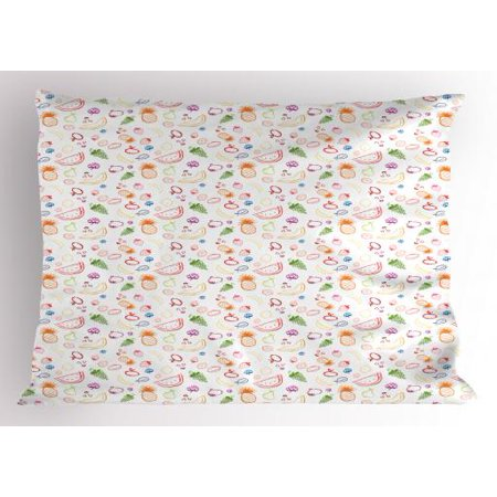 Fruit Pillow Sham Sketch Vegetarian Berries and Food Grapes Lemon Pear Pineapple Cherry and Strawberry, Decorative Standard Size Printed Pillowcase, 26 X 20 Inches, Multicolor, by Ambesonne