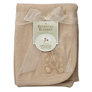 American Baby Company Organic Embroidered Receiving Blanket, Mocha, 4-Count by American Baby Company