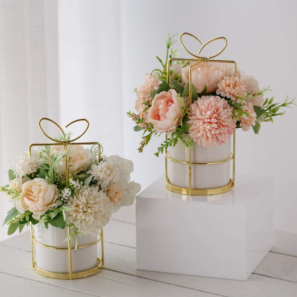 Green Martine Mall 2 Packs Artificial Flowers Bouquet Fake Peony Hydrangea Carnations Bouquet Fake Flower Arrangements for Wedding Decor Table Centerpieces