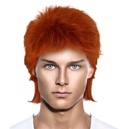 Cece David Bowie 70s Rocker Style Hair Wigs w/ Wig Cap Cosplay Costume Party Halloween Hairpiece for Men