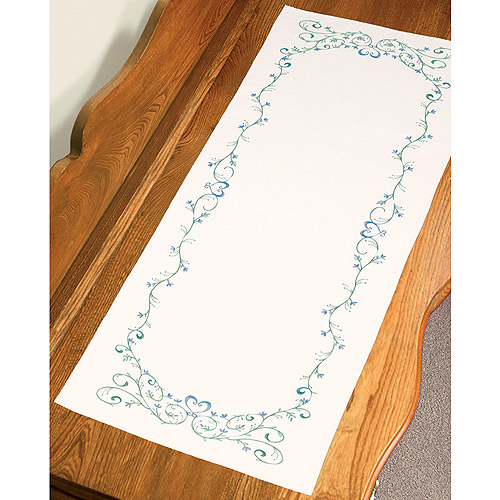 "Dimensions Filigree Scroll Dresser Scarf Stamped Embroidery, 14"" x 39"""