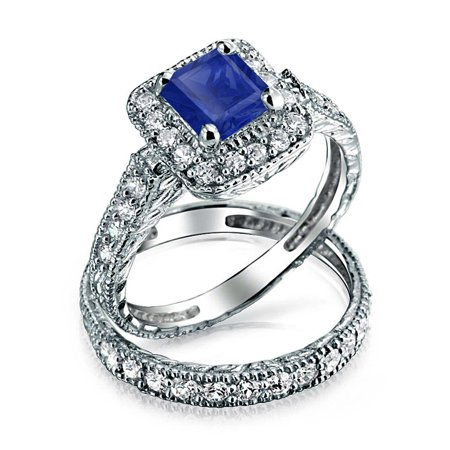 Square Princess Brilliant Cut Halo AAA CZ Simulated Sapphire Engagement Wedding Ring Set For Women 925 Sterling Silver ()