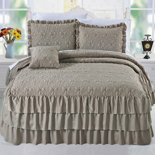 Serenta Ruffle Matte Satin 4 Piece Coverlet Set