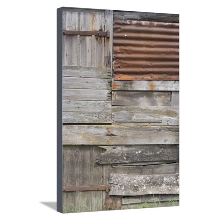 Old Weather-Beaten Rusty Corrugated Iron Siding Amidsts Wooden Slats on a Hut by Ore River England Stretched Canvas Print Wall Art By Natalie Tepper