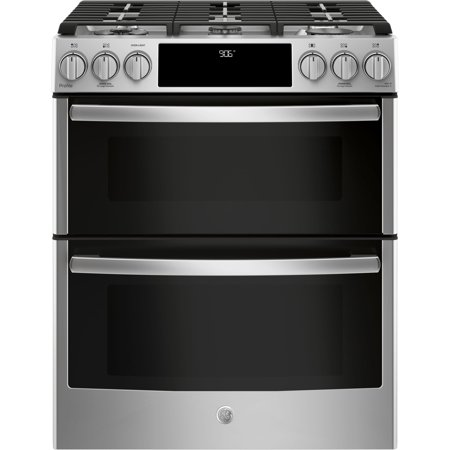 """GE  Profile Series 30"""" Slide-In Front Control Gas Double Oven Convection Ran - Stainless Steel"""