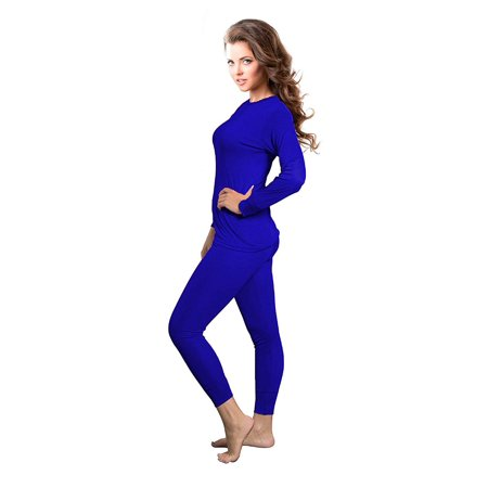 Rocky Womens Thermal 2 Pc Long John Underwear Set Top and Bottom Smooth Knit (3Xlarge, Royal