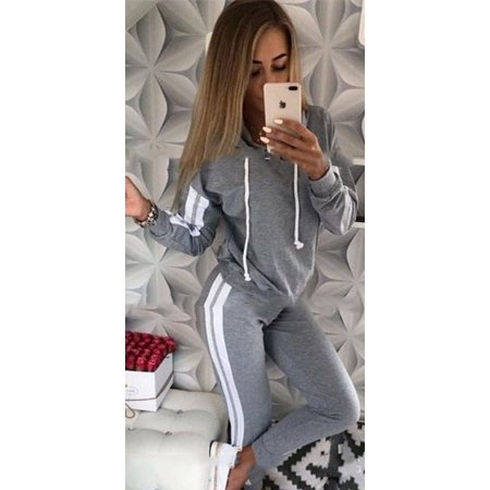 Women's Solid Color Sport Suit Joggers Hoodies and Sport Pants Two Pieces