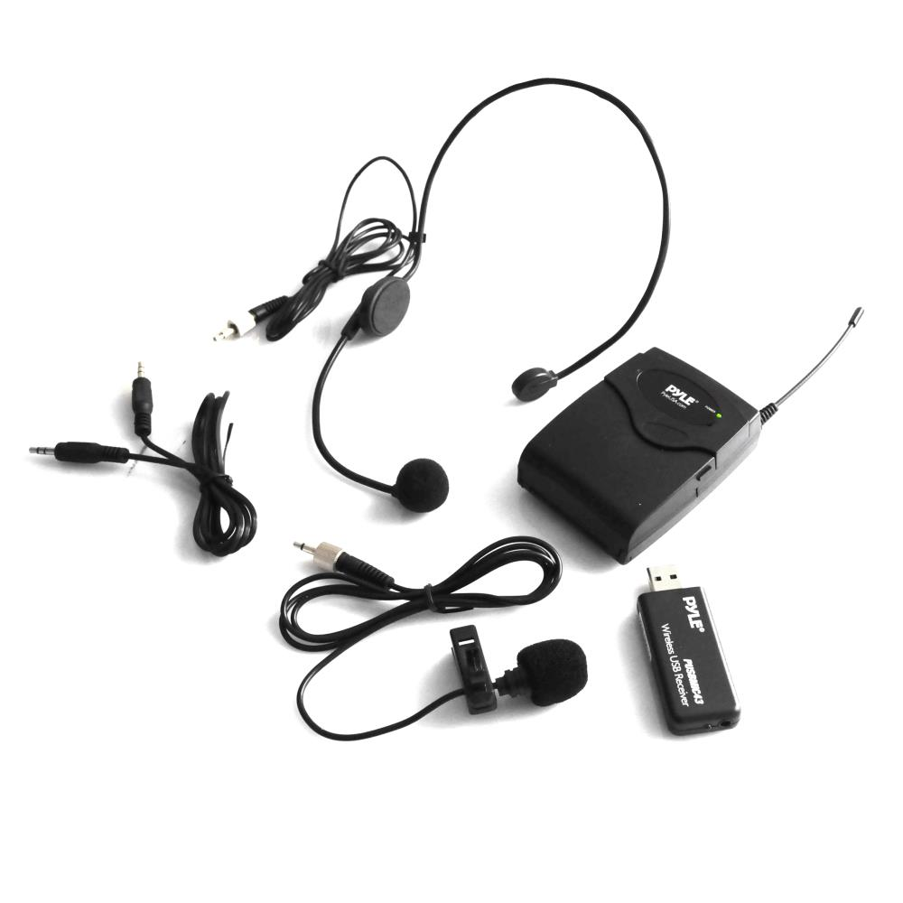 Pyle PUSBMIC43 - Belt Pack Microphone System with Wireless USB Receiver, Headset Mic & Lavalier Mic