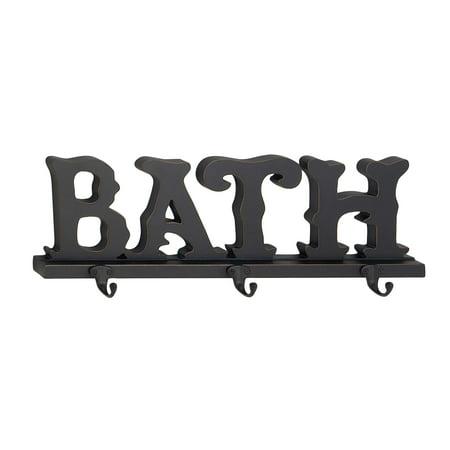3 Pair Black Metal - Decmode Traditional Wood And Metal Bath Wall Hook Rack With 3 Hooks, Black