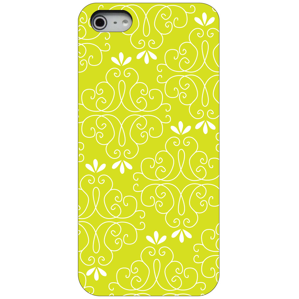CUSTOM Black Hard Plastic Snap-On Case for Apple iPhone 5 / 5S / SE - Yellow White Floral