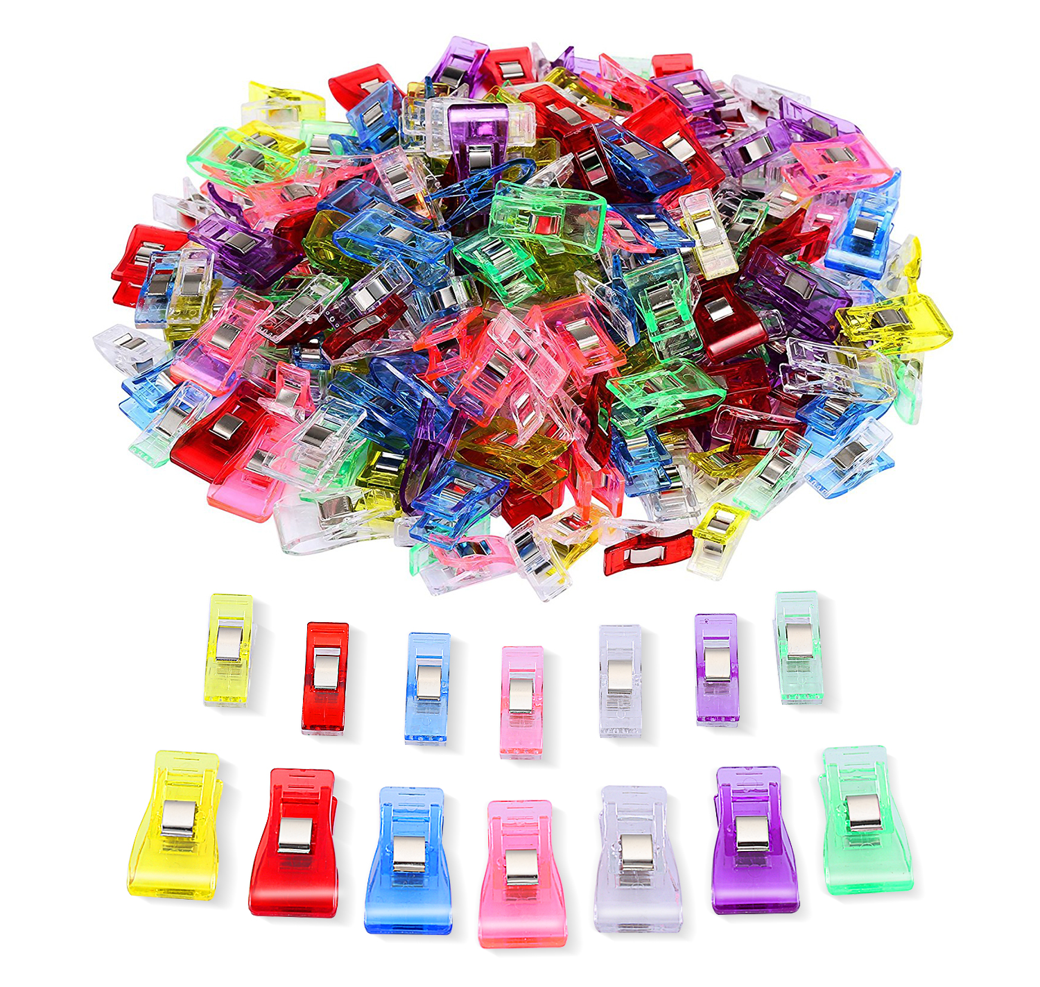 IPOW 100pcs Sewing Crochet Crafting clips Knitting Quilting Plastic Clamps for Home & Office Blinder Wonder Fabric Clip, Assorted Colors, 70 Small 30 Medium