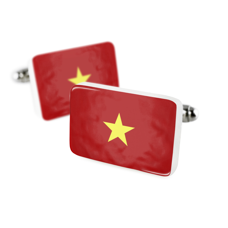 Cufflinks Vietnam Flag Porcelain Ceramic NEONBLOND by NEONBLOND