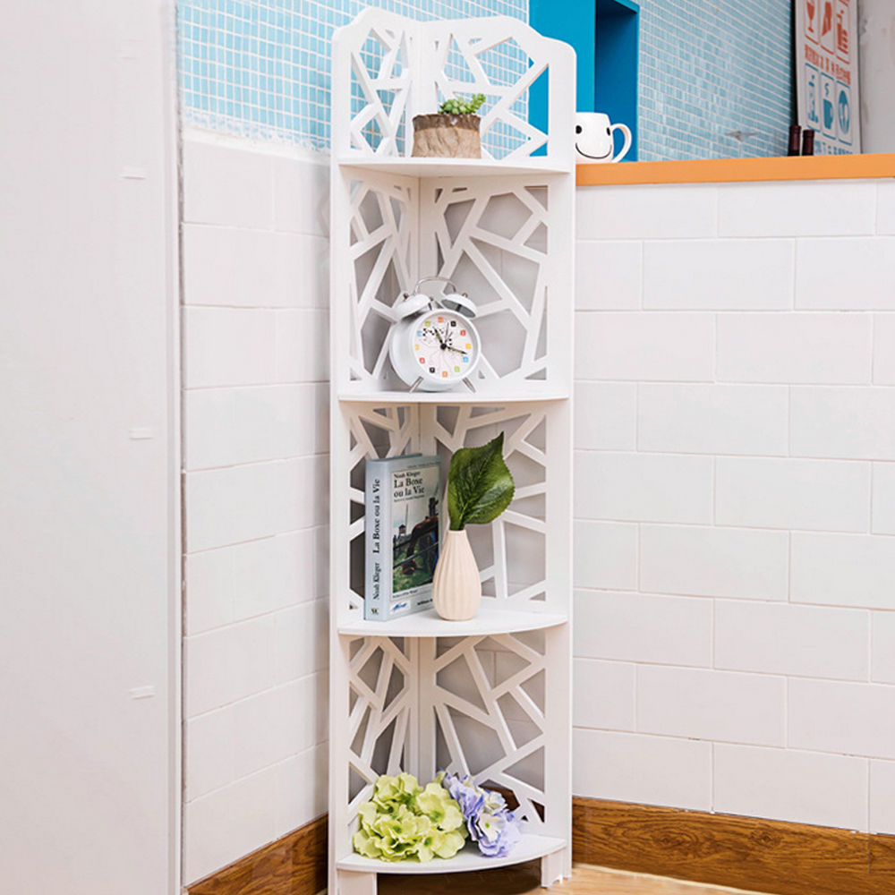Ktaxon 4 Tiers Eco-friendly Wood-Plastic Composites Corner Shelves, White Free Standing Storage Organizer Display Rack