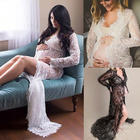 Sexy Pregnant Women Black White Dress Front Split Long Maxi Maternity Dress Gown Photo Photography
