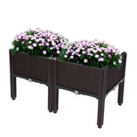 Zimtown Set of 2 Raised Garden Bed, Planting Box with Brackets