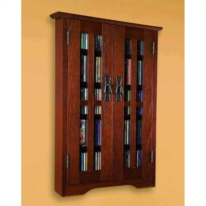 Leslie Dame Wall Hanging Multimedia Cabinet In Walnut