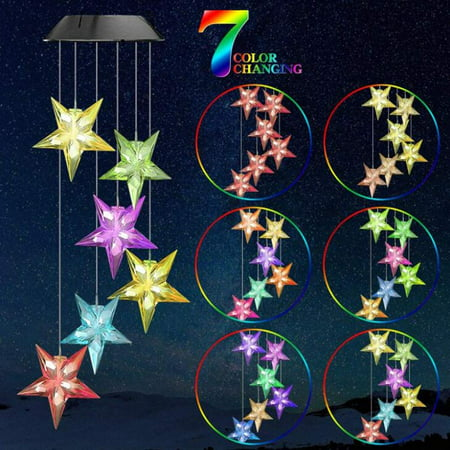 Image of Color Changing Wind Chime Stars LED Wind Chime Wind Mobile Portable Waterproof Outdoor Decorative Romantic Wind Bell Light for Patio Yard Garden Home