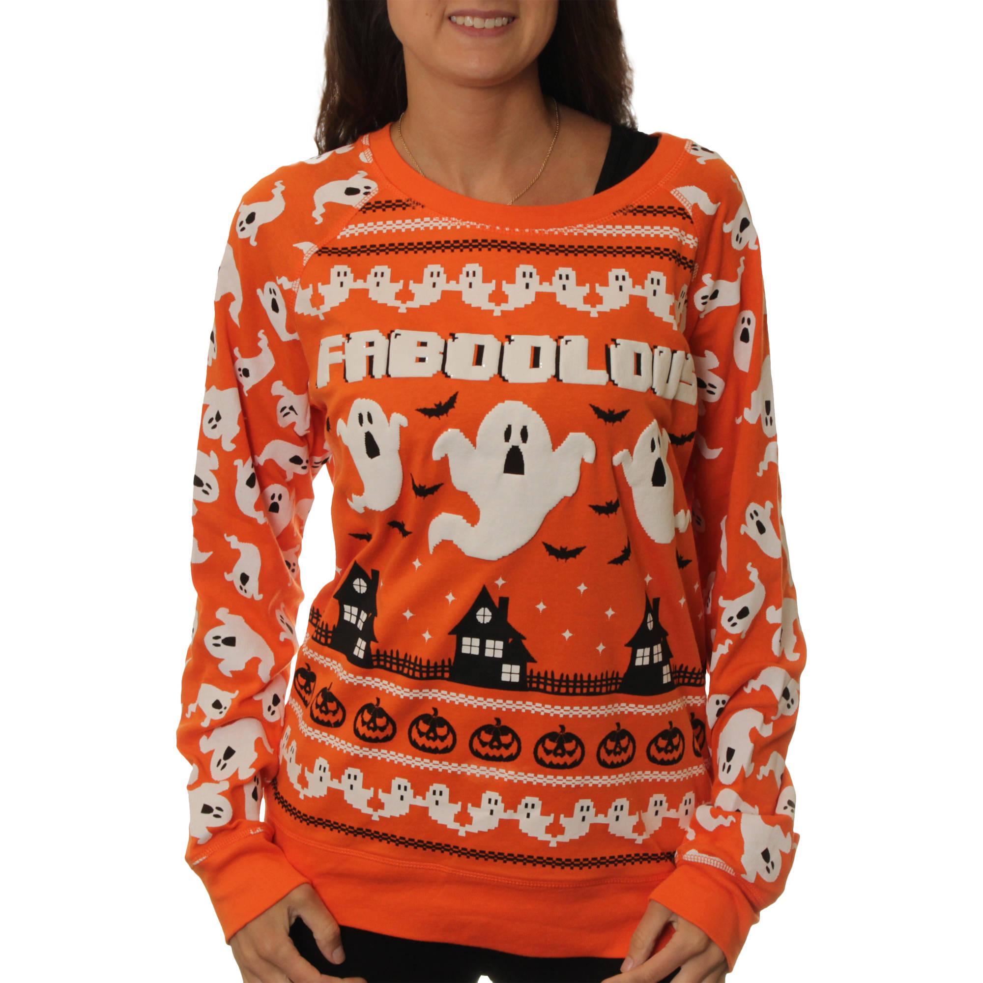"Juniors' ""Faboolous"" Halloween Graphic Pullover"