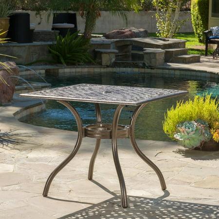Bogota Cast Aluminum Patio Table With Hammered Bronze Finish