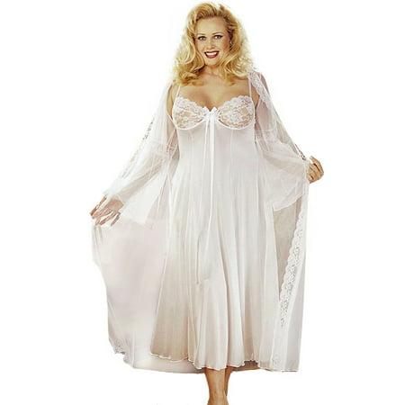 Plus Size Sexy Full Figure Long Gown Peignoir Lingerie Set