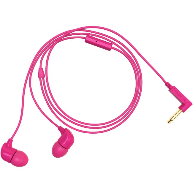 Happy Plugs Earset - Stereo - Cerise - Mini-phone - Wired - 16 Ohm - 20 Hz - 20 kHz - Gold Plated - Earbud - Binaural - In-ear - 3.94 ft Cable