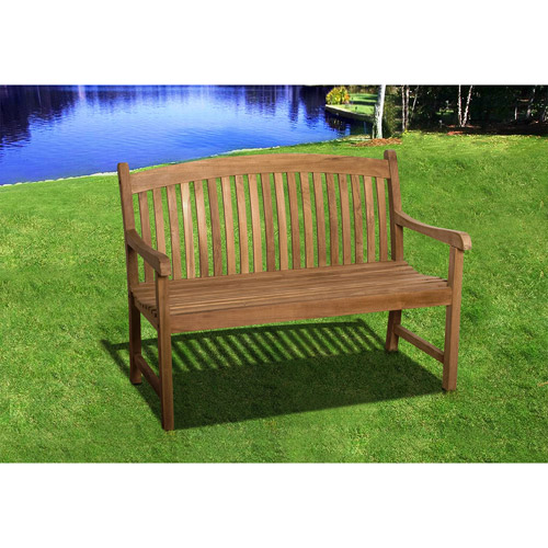 Amazonia Newham Teak Wood Outdoor Bench, Light Brown by International Home Miami