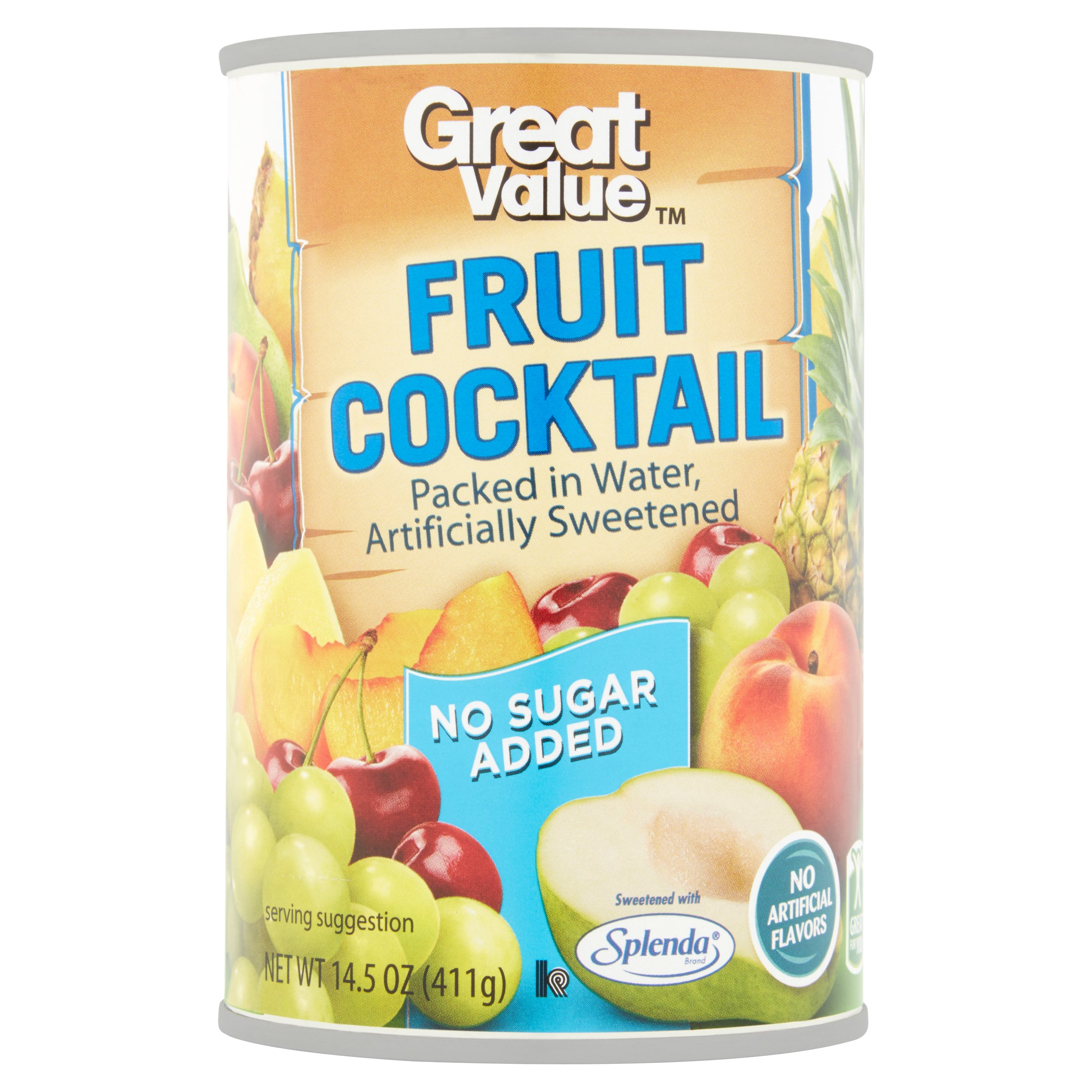 Great Value No Sugar Added Fruit Cocktail in Water, 14.5 oz