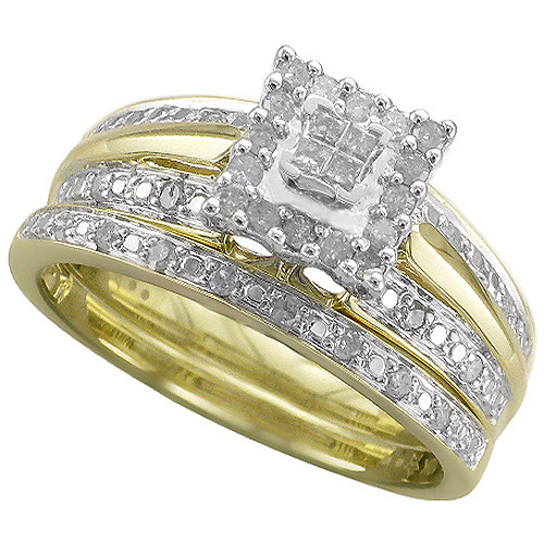 Forever Bride 1 3 Carat T W Diamond 10kt Yellow Gold Bridal Set