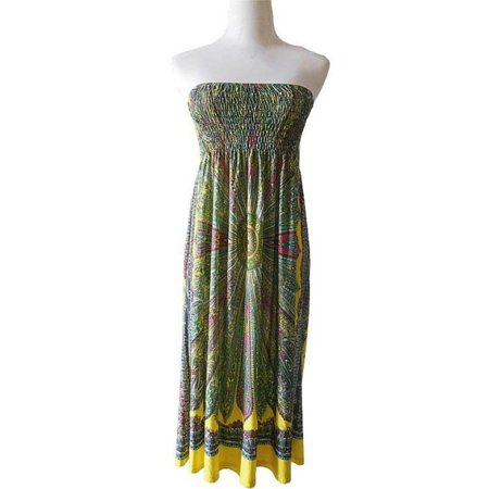 Bohemian Female Dress High-Quality Ropa Mujer Print Beach Summer Dress Vestidos YE/XL (Vestidos De Fiesta Largos)