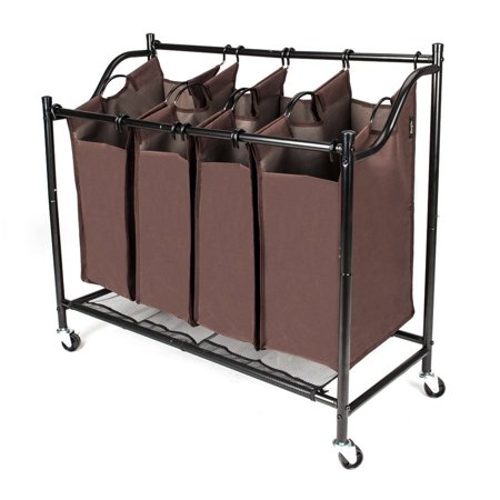 Ktaxon Rolling Laundry Hamper Sorter Stand 4 Bag Heavy Duty Cloth Organizer Cart Brown