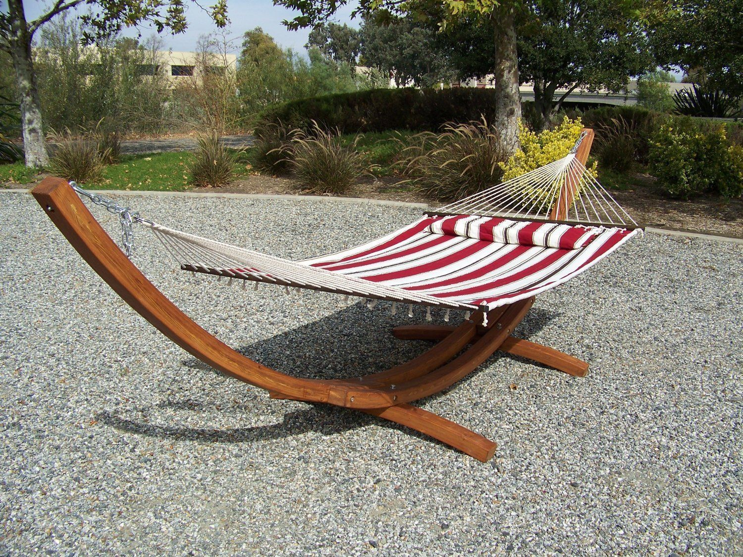 Petra Leisure 14 Ft. Teak Wooden Arc Hammock Stand + Premium Quilted Spring Color, Double Padded Hammock Bed.... by Petra Sports & Leisure