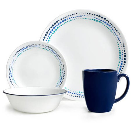 Corelle 32 Piece Livingware Ocean Blues Dinnerware Set