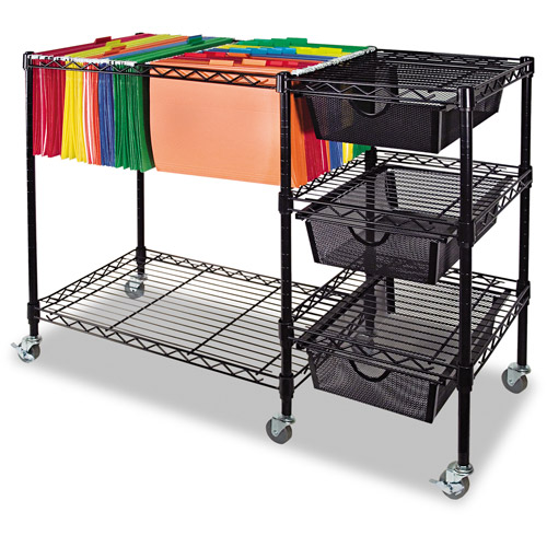 Advantus Mobile File Cart w/Drawers, 38 x 15-1/2 x 28, Black