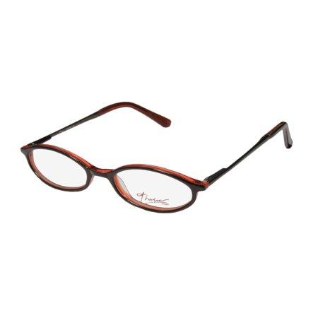 New Thalia Giselle Womens/Ladies Designer Full-Rim Chocolate / Transparent Orange Durable Exclusive Affordable Frame Demo Lenses 50-18-140 Flexible Hinges Eyeglasses/Eye Glasses ()