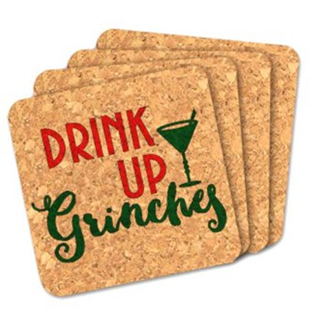 Ducky Days 8407242 4 x 4 in. Drink Up Grinches Square Cork - Set of 4 - Squaring Up
