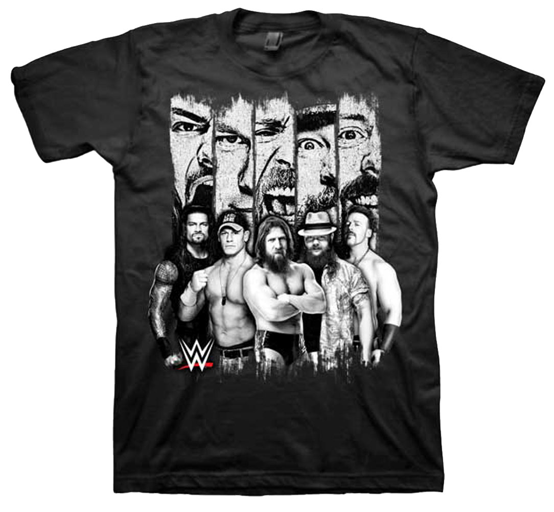 WWE Faces - Black and White Wrestler Panels Adult T-Shirt