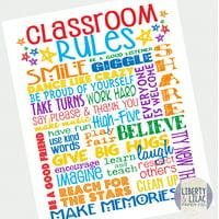 "8x10"" Classroom Rules Poster Classroom Art Inspirational Poster for Elementary School Teacher"