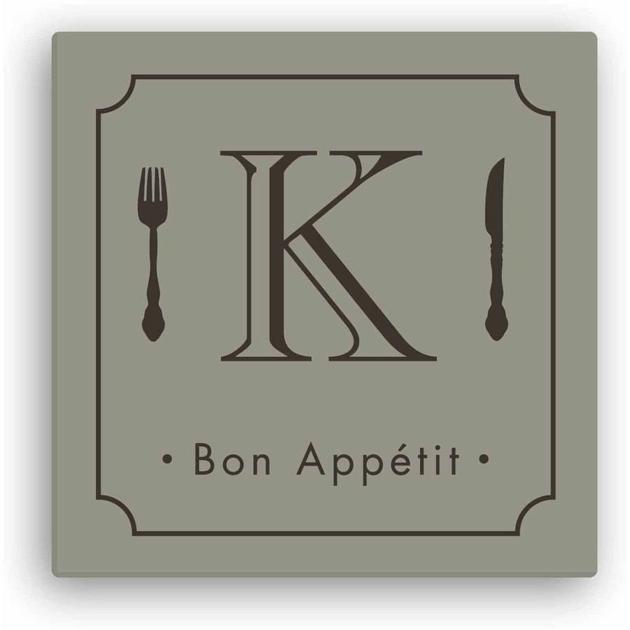 "Personalized Bon Appetit 12"" x 12"" Canvas, Beige"
