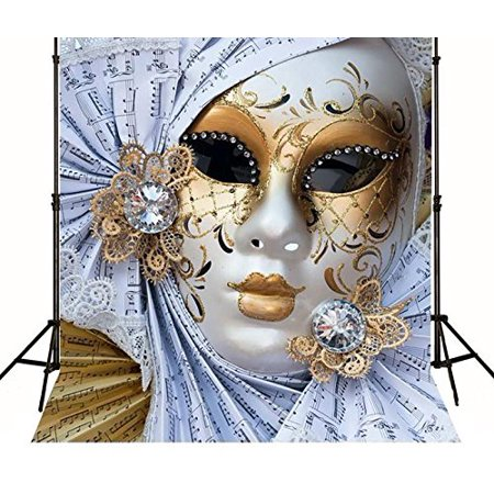 GreenDecor Polyster 5x7ft masquerade mask fiesta birthday Music Backgrounds party backdrops - Masquerade Backdrop