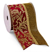 "4"" X 10 Yards Wine/Gold Florence Christmas Wide Gold Backed Wired Ribbon by Paper Mart"