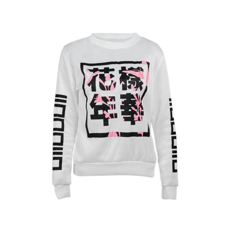 Long Sleeve Pullover Tops For Women   Men  Womens   Men Chinese Printed Bts Sweatshirt Hoodie   White Blouse Jumper Coat Tops  S 2Xl
