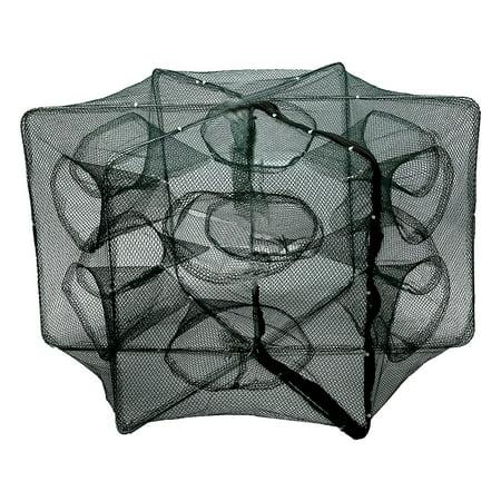 6/12 Holes Automatic Fishing Net Shrimp Cage Nylon Foldable Crab Fish Trap Cast , Crab Minnow Crawdad Cage, Fishing Trap - Colored Fish Netting