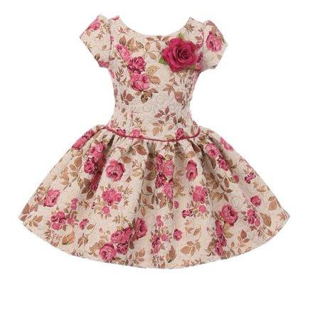 Kiki Kids Girls Fuchsia Flower Printed Brocade Short Sleeve Dress ()